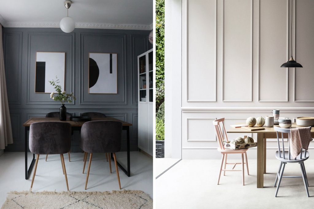Boiserie panels with a modern twist.  Sources: mymindfulhome.co.uk, pinterest.com