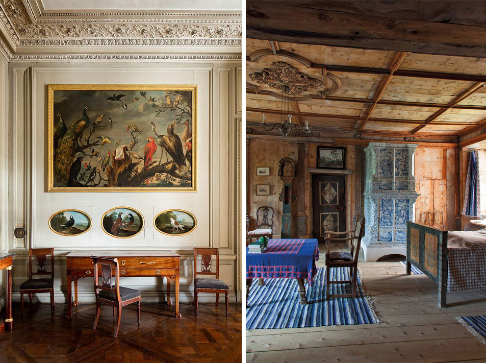 Historic interiors with wood paneling in France and Italy.  Sources: houseandgarden.co.uk, pinterest.com