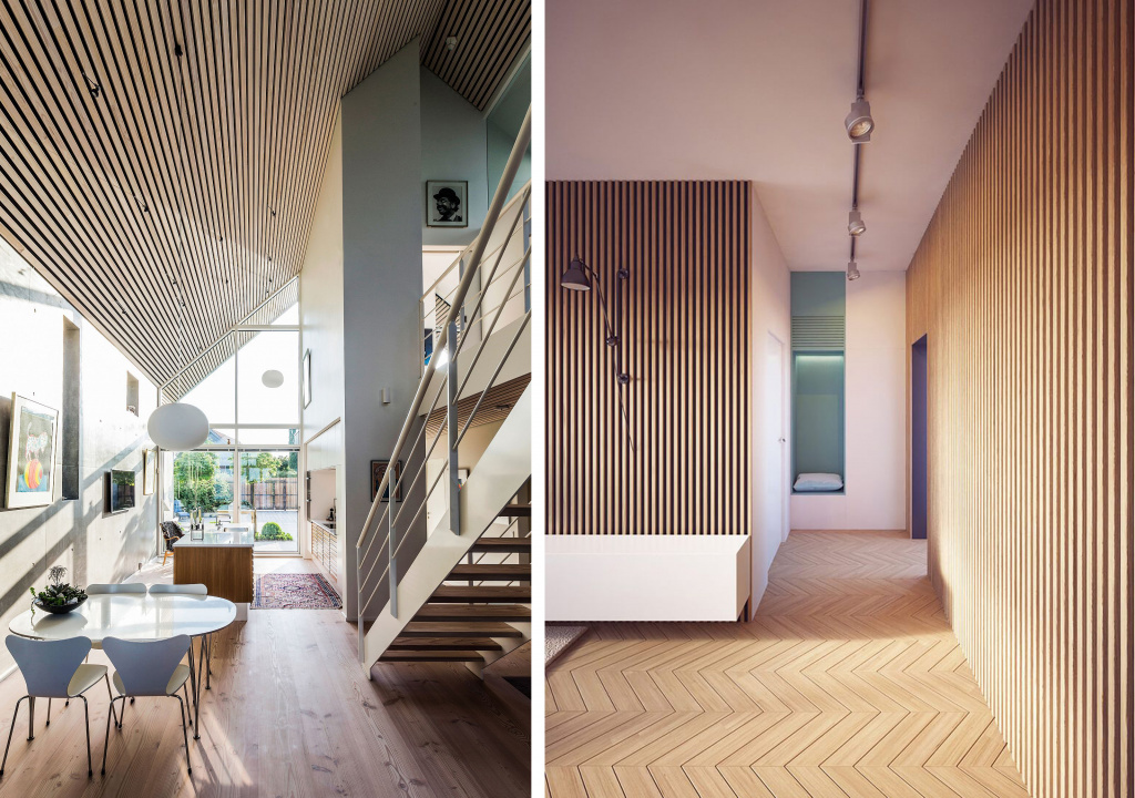 Surfaces finished with narrow slats look impressive and add relief to the space.  Source: pinterest.com