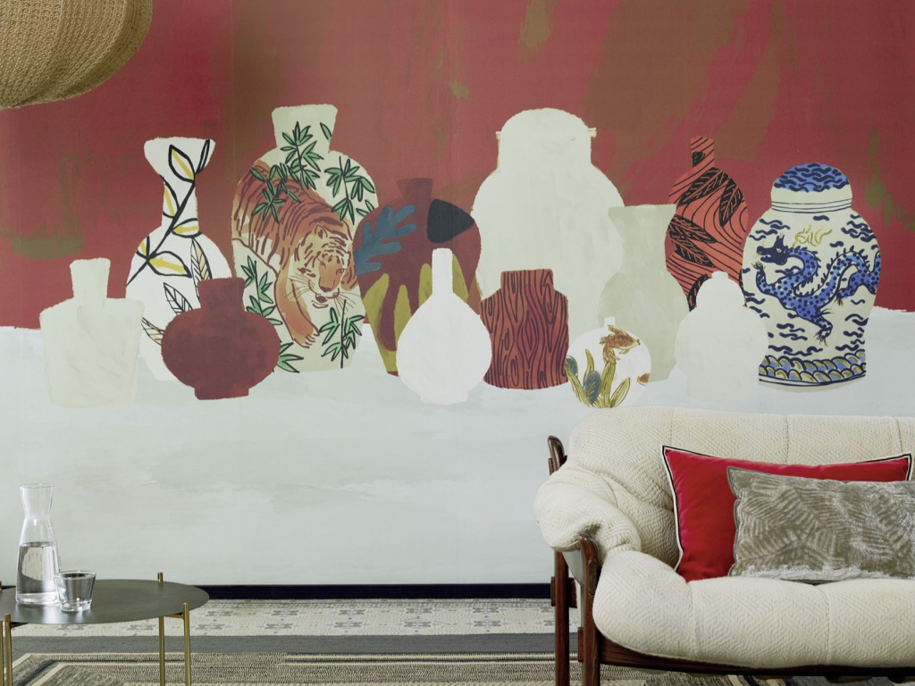 Wallpaper from the collection tigre-et-dragon by Elitis