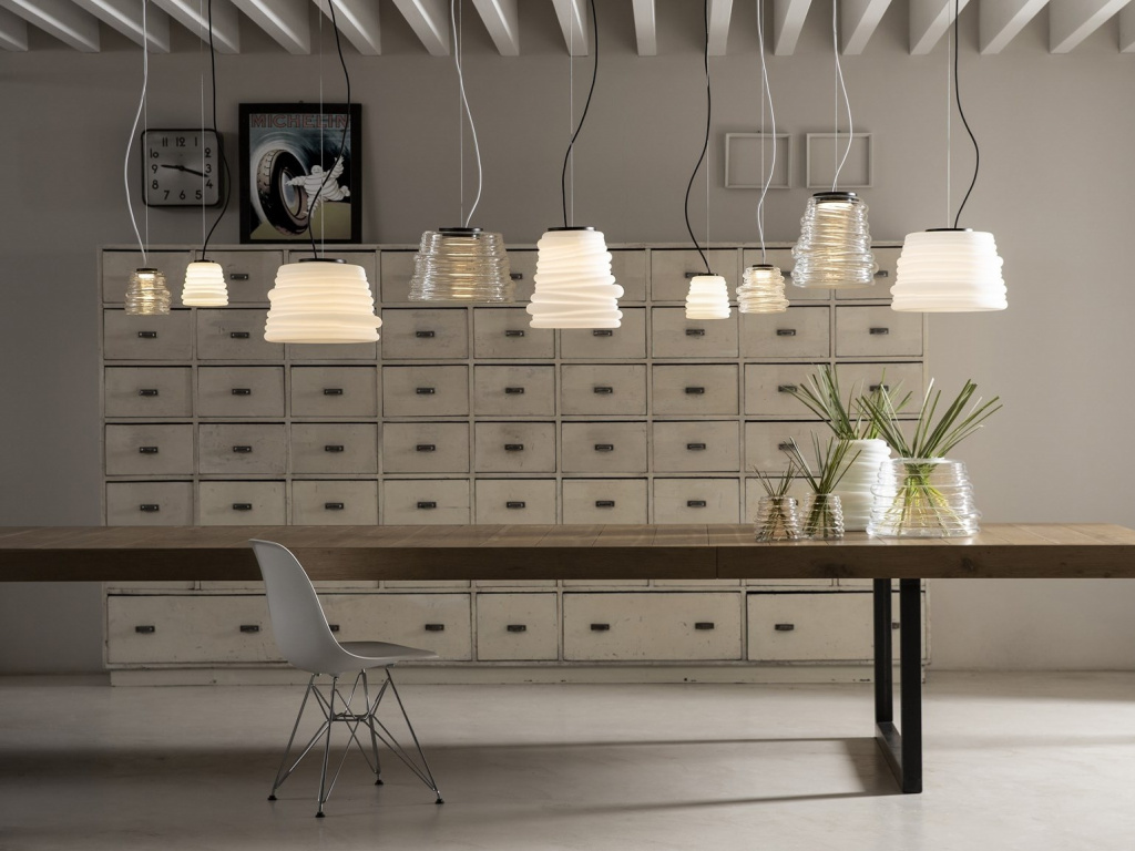 Luminaires from the Bibendum collection designed by Paola Navone for Karman