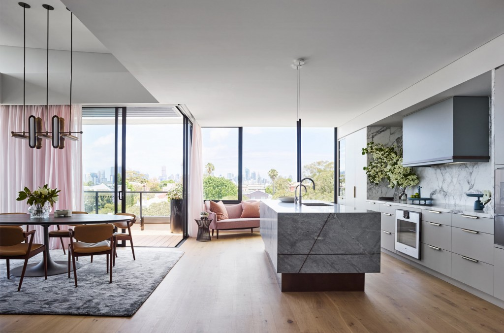 Living room and kitchen interior from Treetop House projects by Arent & Pyke studio.  Photo: arentpyke.com