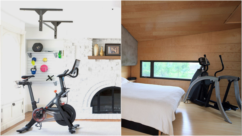 If you do not have the opportunity to organize a separate workout room, try to fit the simulator into the interior.  Sources: housebeautiful.com, goodhousekeeping.com