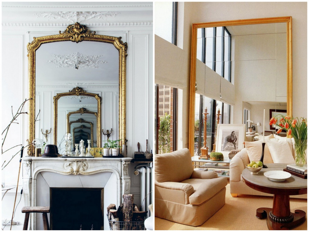 Mirrors are able to visually enlarge the premises and even create the effect of an endless suite, as in the first photo.  Source: architecturaldigest.it