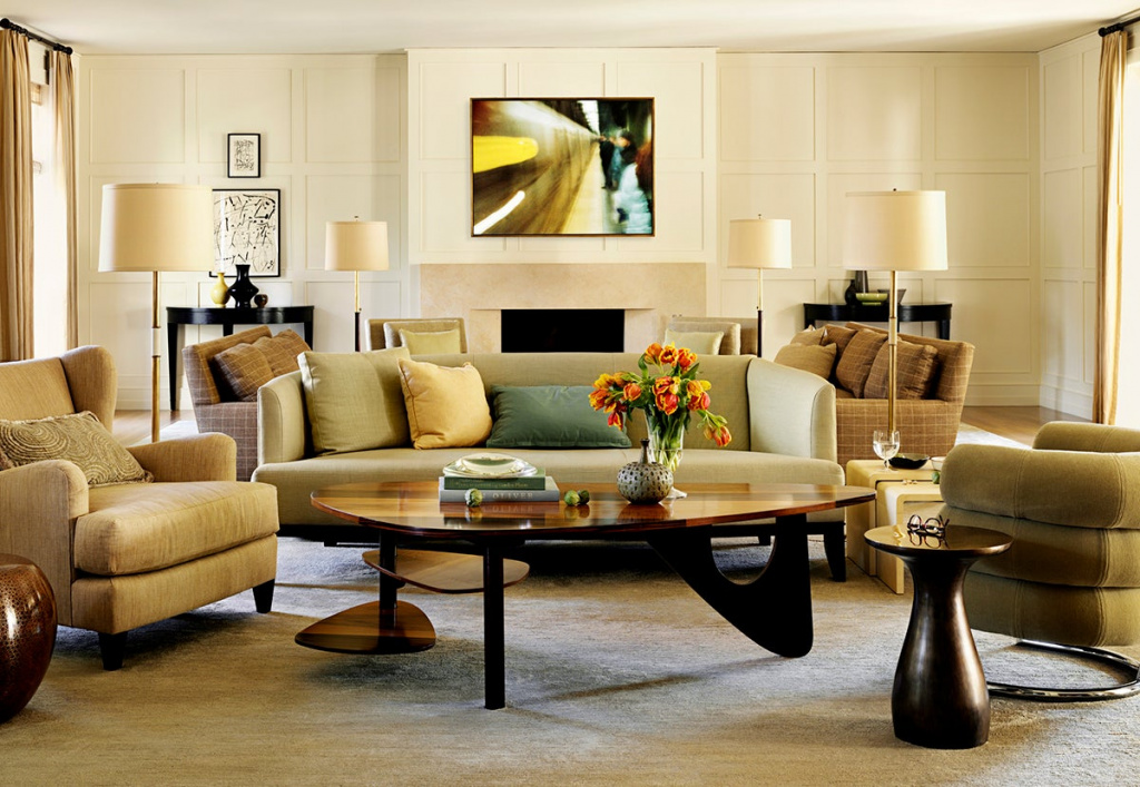 California residence of Pacific Palisades.  Designer Barbara Barry shows how well the center piece of furniture looks in the living room.  Source: barbarabarry.com