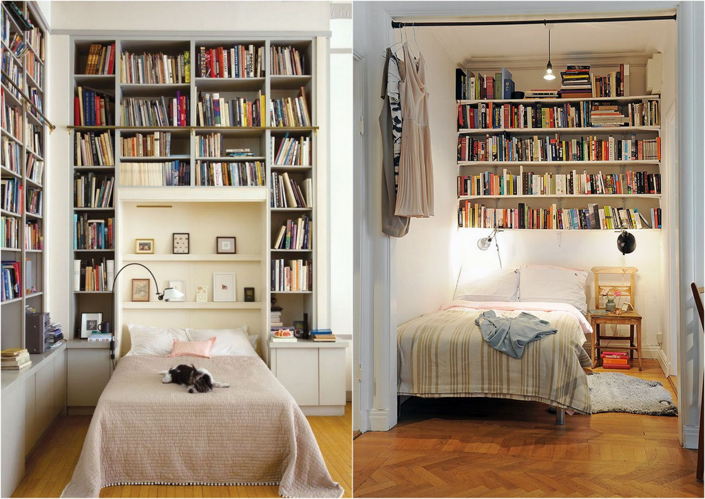 These ways of storing books in the bedroom are controversial.  And if in the first case it can cause psychological discomfort, then in the second it can be traumatic.  Source: pinterest.com