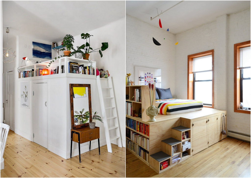 Depending on the dimensions and height of the ceilings, you can organize both a full sleeping tier and a high podium with additional storage systems inside.  Source: pinterest.ru