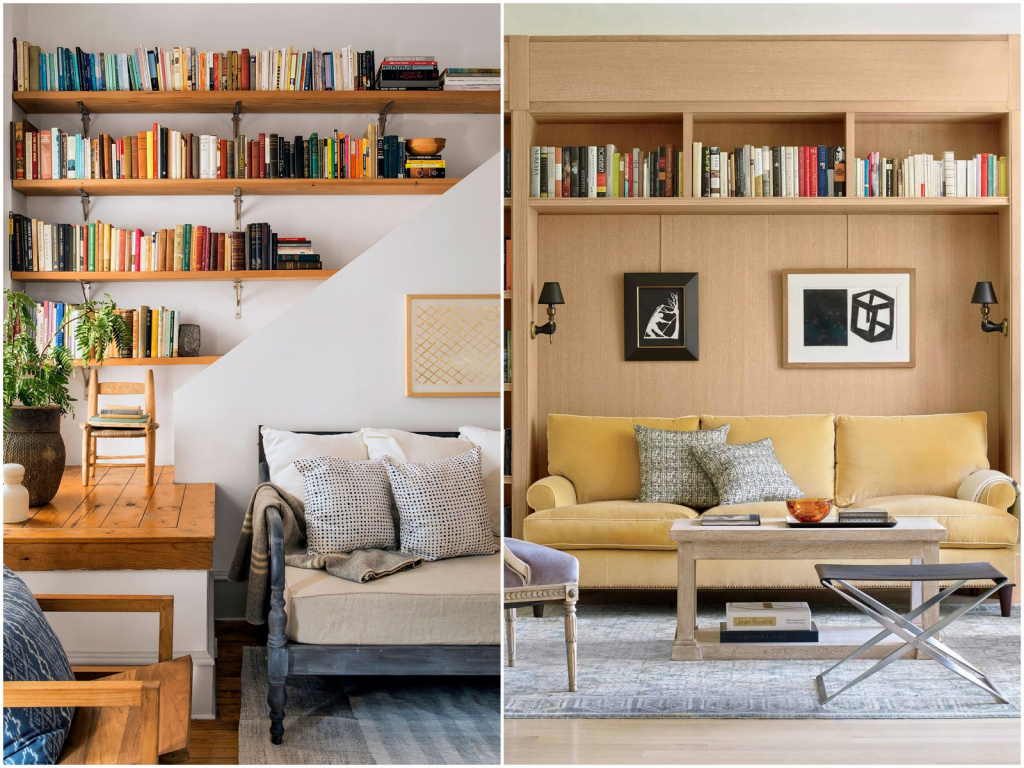 Bookshelves should not be discounted when decorating.  In this case, it is not necessary to clutter up the space with cabinets.  Source: beautifulhomes.com