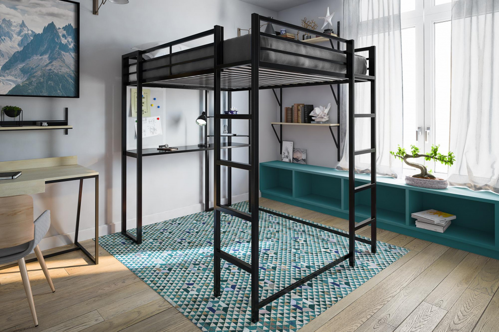 To save space, you can choose a high bed and then use the traditional principles of furniture arrangement.  Source: mycattlersrusters.com