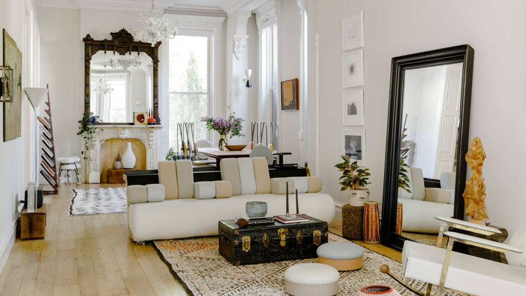 Eclectic living room project.  Source: architecturaldigest.it