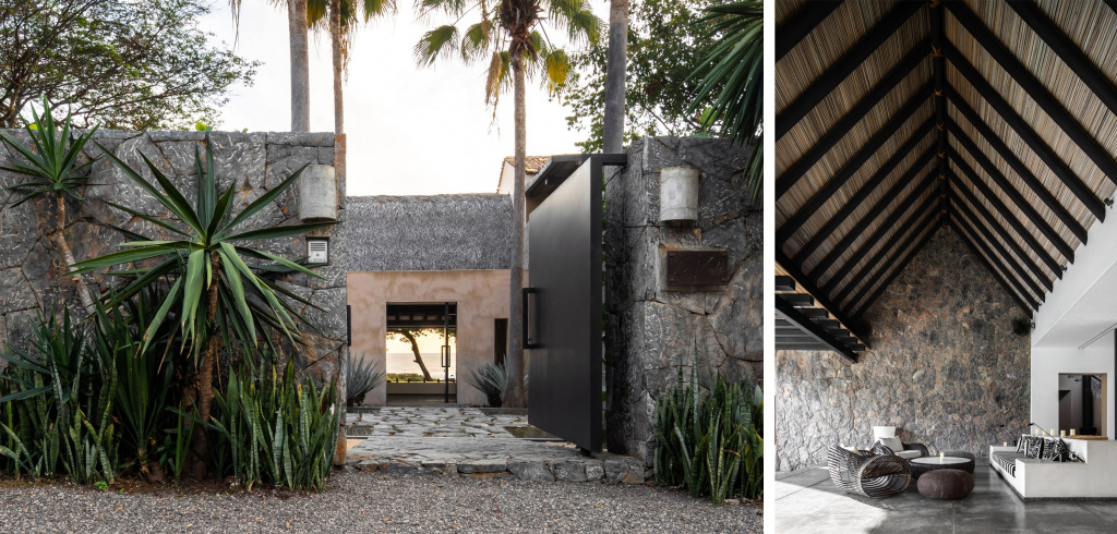Home in Mexico with a traditional dry palm leaf roof, designed by Zozaya Arquitectos.  Source: dezeen.com