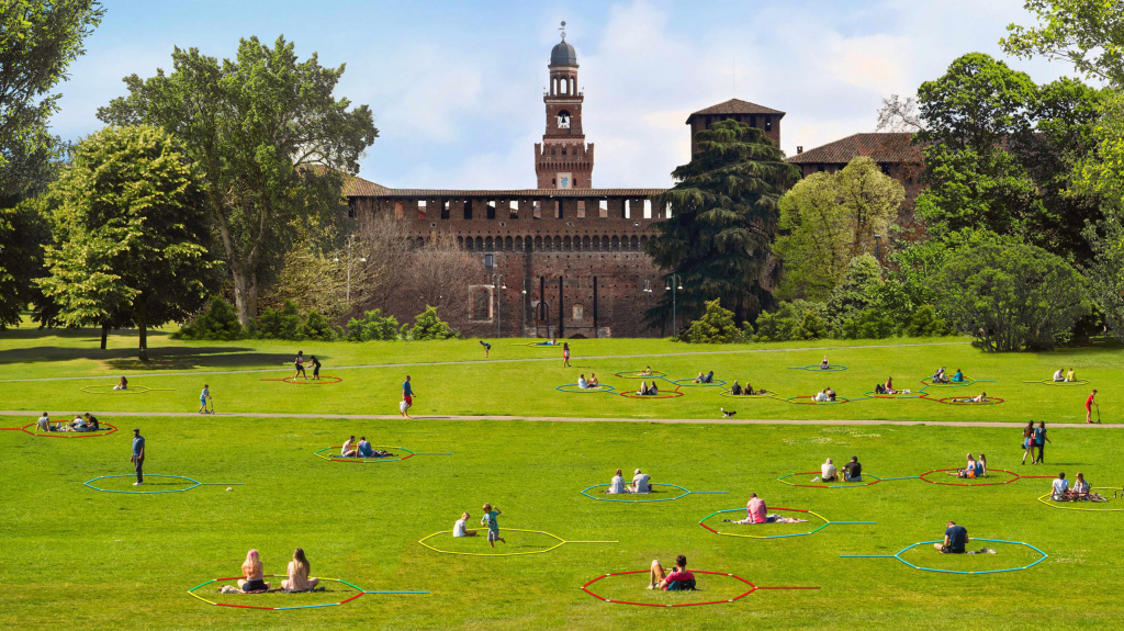 Social isolation: a variant of public space zoning.  Idea by Centro Blengini Ghirardelli.  Source: dezeen.com