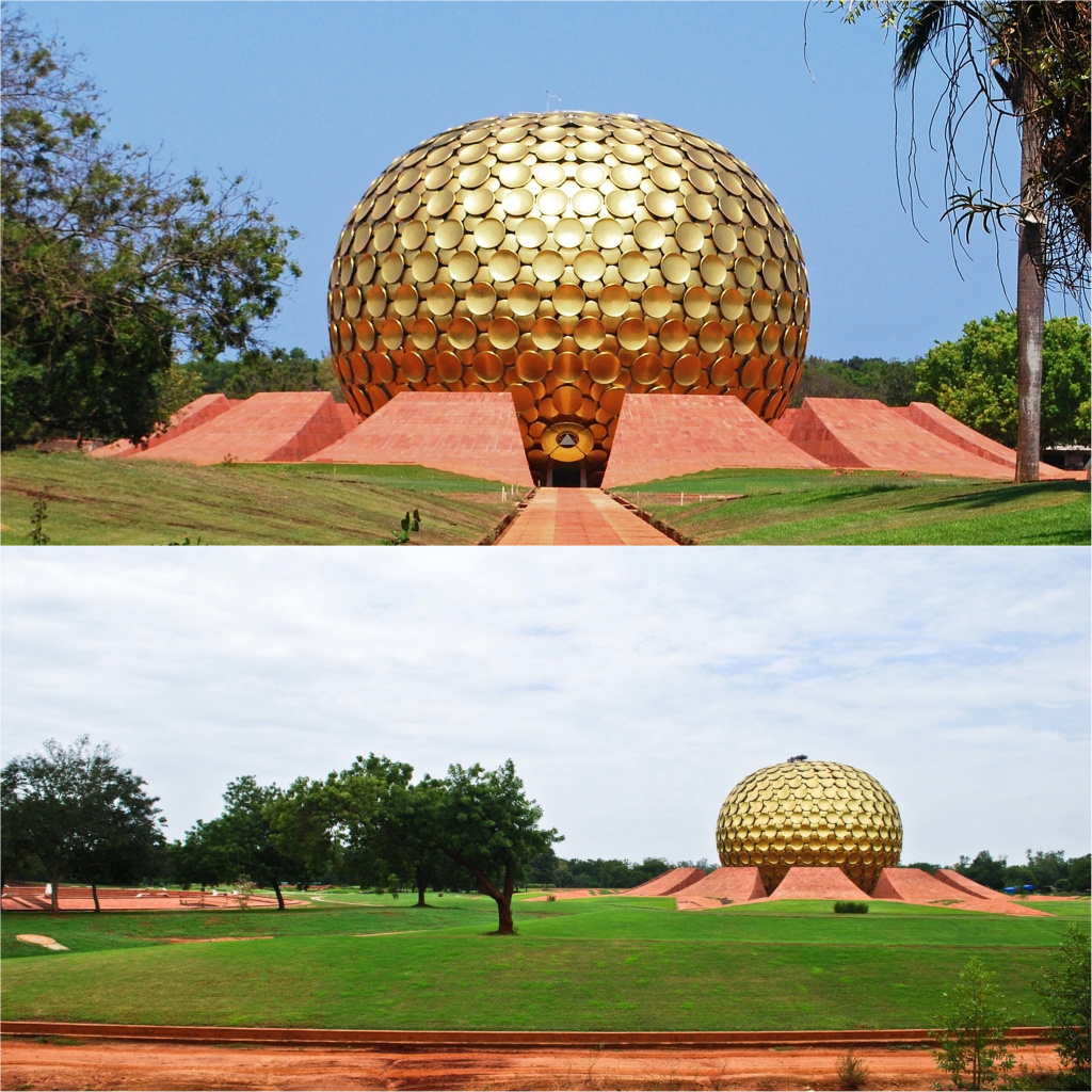 Matrimandir is a building for meditation and yoga practice in Auroville.  Designed by Roger Angers.  Source: worldarchitecture.org