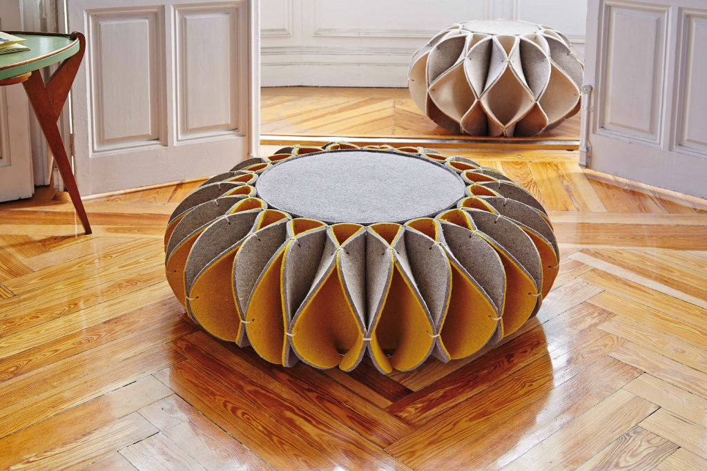 This unusual pouf from GAN is made of thick felt.  Source: gan-rugs.com