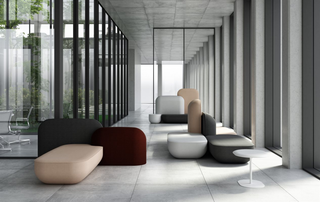 The Okome furniture collection for Alias was designed by Nendo.  It consists of many pouf modules.  Source: alias.com