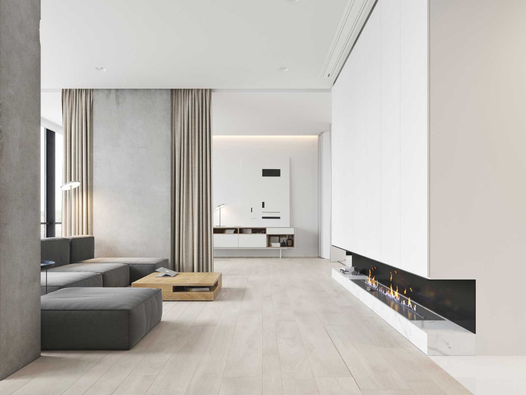 Ottomans in minimalist interiors, as a rule, carry out a functional load.  The gray low pouf fits perfectly into the space, decorated with modular furniture.  Source: roomlook.ru