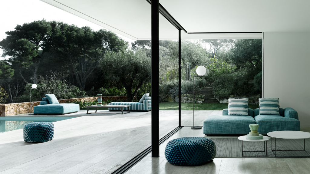B&B Italia's outdoor Hybrid collection includes stylish ottomans in textured upholstery.  Among the authors of the collection is Philipp Starck.  Source: bebitalia.com
