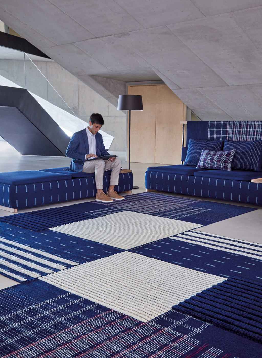 The Chinese duo Neri & Hu shocked the interior design world with their collection for Gan.  And there were ottomans in it too.  Source: gan-rugs.com