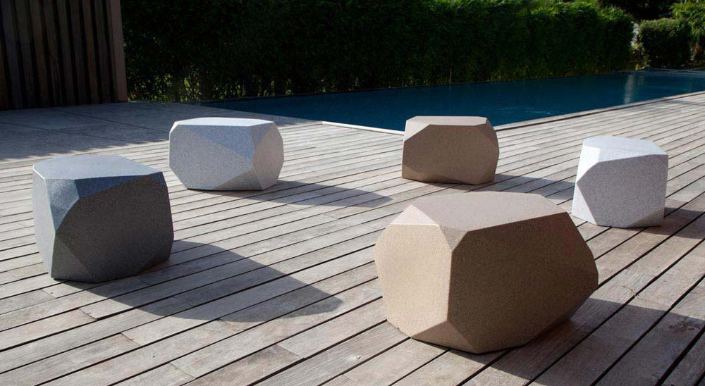 The Piero outdoor poufs from Frontier Polymers made of polymer alloy are not the softest seat option.  But they are resistant to the vagaries of the weather.  Source: archiexpo.com