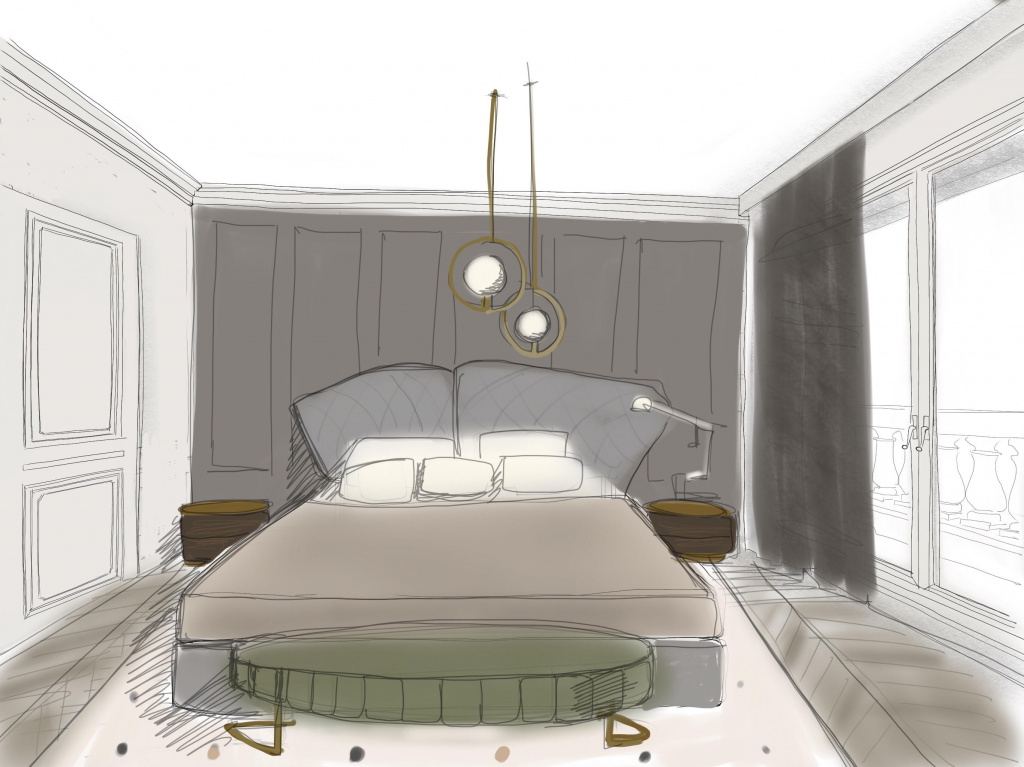 A sketch of a bedroom for a Parisian interior.  The project was made for the studio Bertone Design srl, Milan, 2018