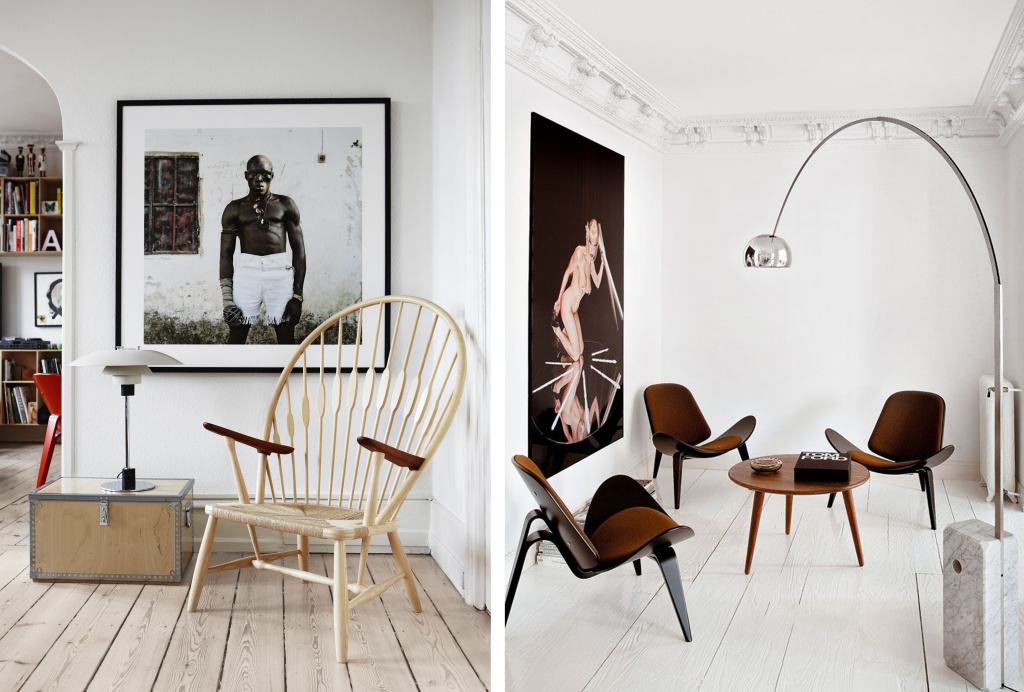Peacock chair and Shell chair by Hans Wegner.  Source: pinterest.com