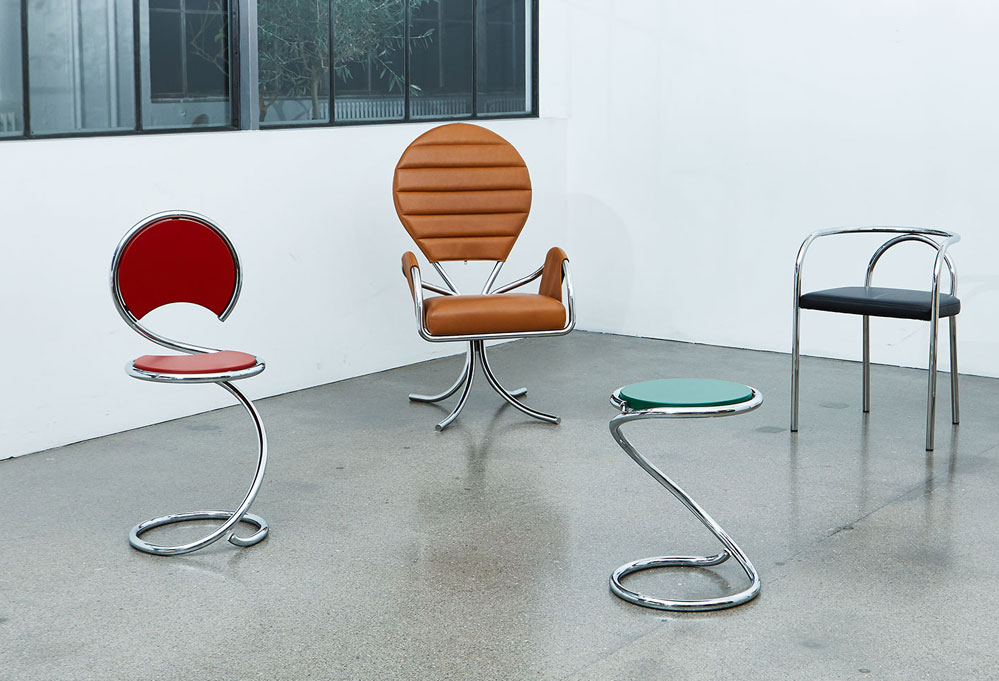 """Chairs made of bent tubes designed by Paul Henningsen (first on the left is the """"Snake"""" chair).  Source: markanto.de"""