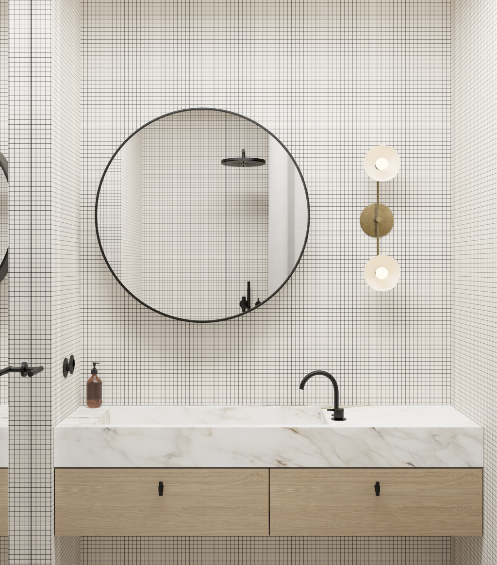 A fragment of a bathroom from a project of an apartment in Copenhagen.  The author of the project is Emil Dervish.  Photo: emildervish.com