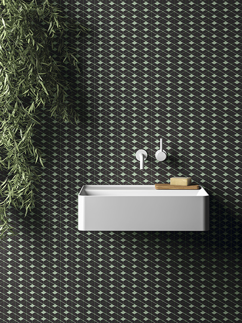 Detail of a bathroom tiled with Living Ceramics