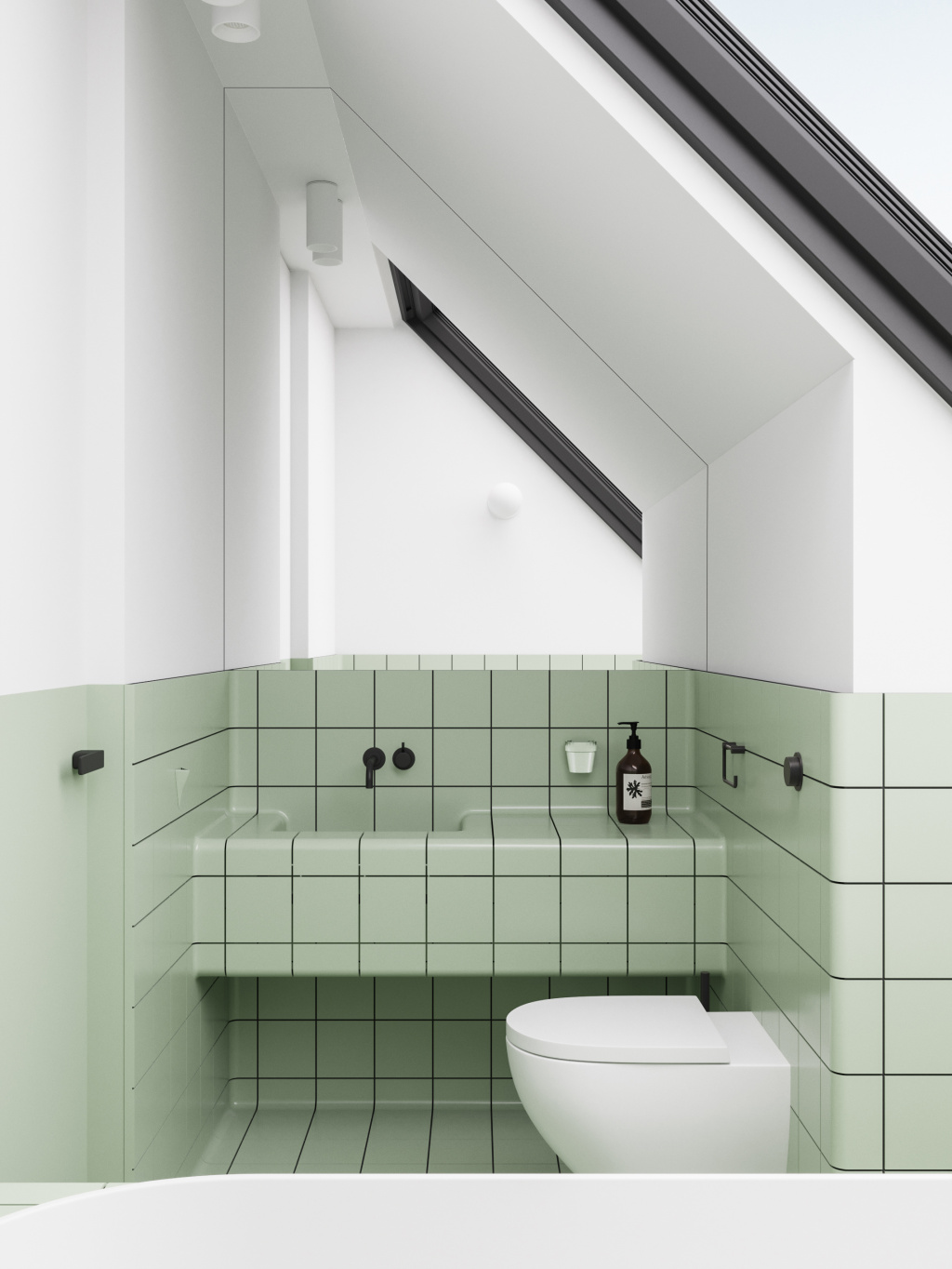 A fragment of a bathroom from an apartment project in the Norwegian city of Trondheim.  The author of the project is Emil Dervish.  Photo: emildervish.com
