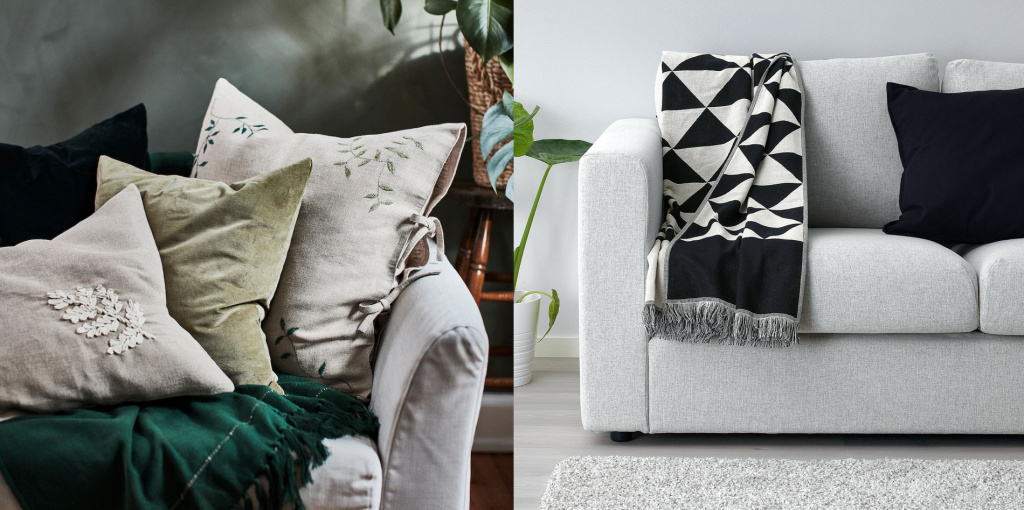 Blankets and throw pillows from the Ikea range