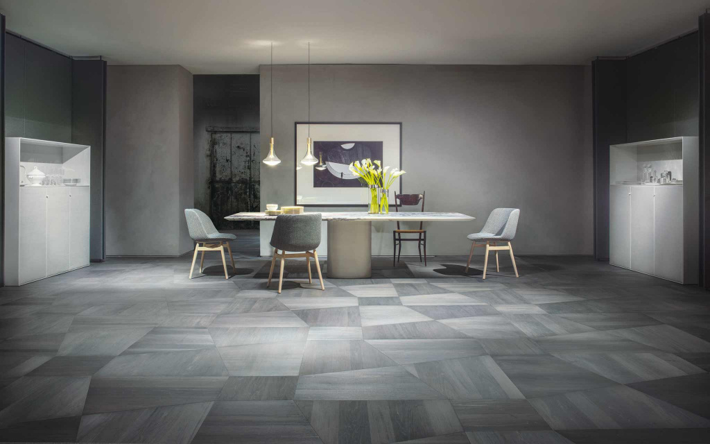 Parquet from the Perigal collection by Listone Giordano.  Elements designed by Paola Lenti studio