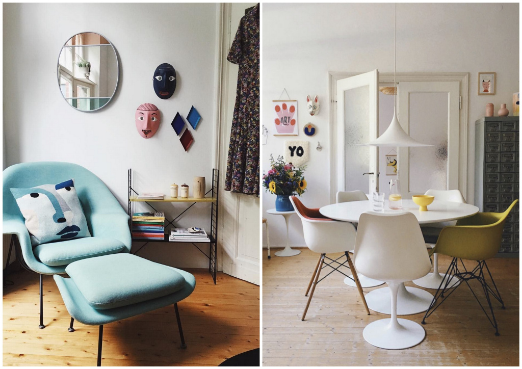 Womb Chair, Tulip table and chairs, Eames Plastic Chair.  Sources: pinterest.ru, myscandinavianhome.com