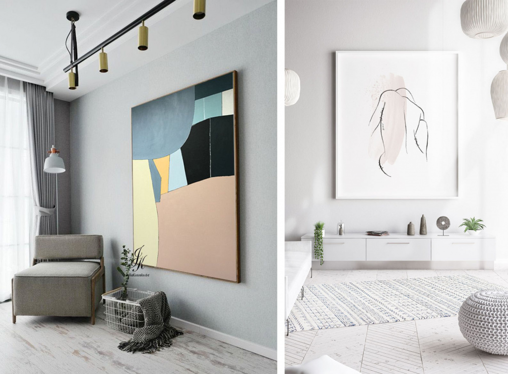 A delicate approach to choosing a painting for the interior.  Source: pinterest.com