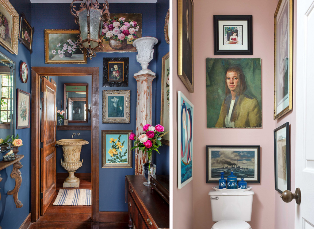 Paintings in an eclectic interior.  Sources: countryliving.com, housebeautiful.com